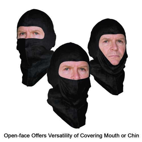 Soft-stretch Head Cover replacing Spray Sock Balaclava, Black, Open-face Design, 6 Pack