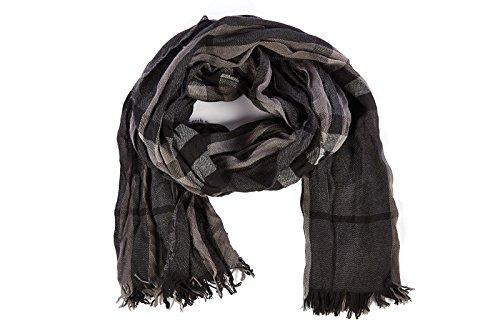 Burberry sciarpa uomo in lana check nero