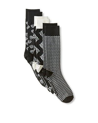 Zanzara Men's Mixed Pattern Crew Socks - 3 Pack