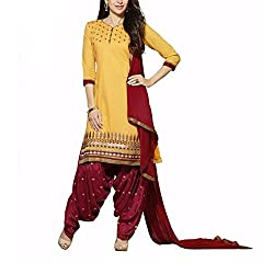 Destiny Enterprise Cotton Unstitched Yellow and Red Color Embroideried Salwar Suit Dress Material for Women