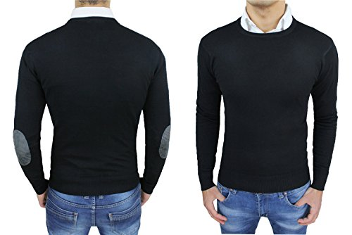maglione-golfino-uomo-nero-slim-fit-aderente-maglia-girocollo-con-toppe-pullover-casual-s