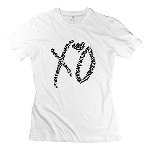 Qdjt Women'S Xo Zebra Print T-Shirt - Xxl White
