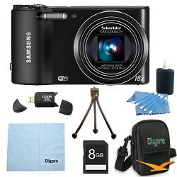 Samsung WB150F Smart Wi-Fi Digital Camera Bundle Includes 8 GB Memory Card, Card Reader, Deluxe Carrying Case, Mini Tripod, and 3Pcs. Lens Cleaning Kit.