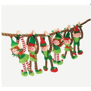 12 - DELUXE PLUSH HANGING CHRISTMAS ELFS - TREE DECORATIONS - HOLIDAY STOCKING STUFFERS