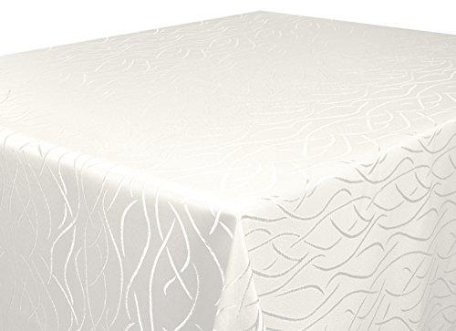 Tischdecke-creme-Rund-160-cm-in-glanzvoller-Streifenoptik-eckig-Gre-Farbe-Form-whlbar-Rund-Eckig-Oval