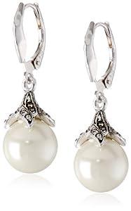 "Judith Jack ""Pearl Romance"" Sterling Silver Swarovski Marcasite Pearl Leverback Drop Earrings"