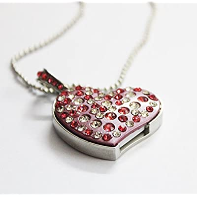 Anyusb140 Fancy Jewellery Studded Pink Heart Shape Studded Pen Drive (8 Gb) + Exclusive Hand Made Gift Box