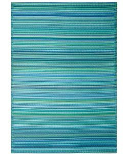 Cancun Outdoor Rug in Turquoise and Moss Green