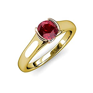 Ruby and Diamond 2 Tone Solitaire Plus Engagement Ring 0.98 ct tw in 14K Yellow Gold.size 7.5