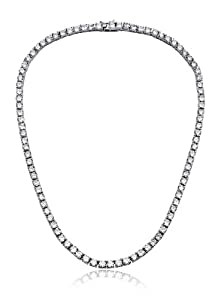 ClassicDiamondHouse Julie's 5MM Sterling Silver C.Z. Diamond Tennis Necklace - Incl. ClassicDiamondHouse Free Gift Box & Cleaning Cloth