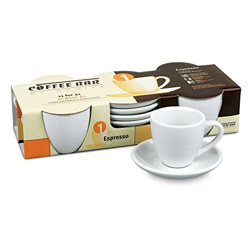 Konitz Coffee Bar Espresso Cups and Saucers, 2-Ounce, White, Set of 4 (Turkish Coffee Cups compare prices)