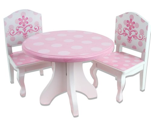 18 Inch Doll Table & Chairs Set, Fits American Girl Dolls And More, Pink And White Hand Painted Doll Table And Two Doll Chairs Set
