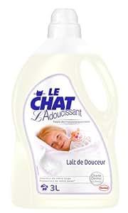 Le Chat - Adoucissant Liquide Testé Dermatologiquement - Lait de Douceur - Flacon 3 L / 30 Lavages