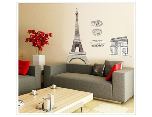 Dfunlife Diy Eiffel Tower & Arc De Triumph Print Pvc Wall Decal Sticker Sz 108 X 150 Cm