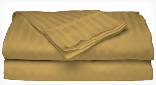 King Size Gold 300 Thread Count 100% Cotton Sateen Dobby Stripe Sheet Set front-415619