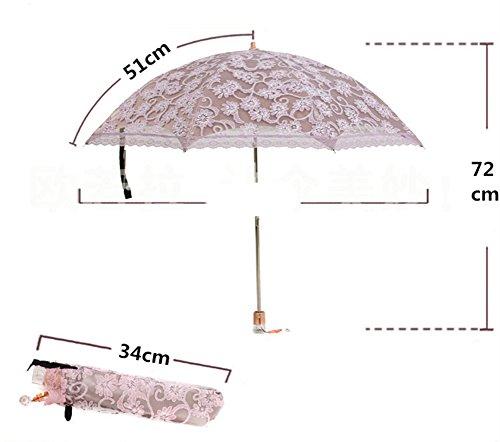 Honeystore Regenschirm, Automatik Taschenschirm Anti UV Regen/Sonne Spitze Regenschirm für Damen Rosa -