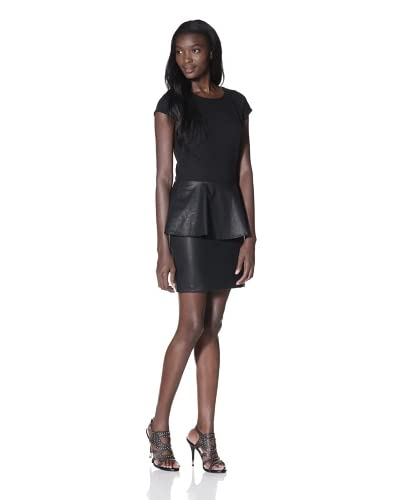 JB by Julie Brown Women's Sabeen Capsleeve Ponte with Faux Leather Peplum  - Black