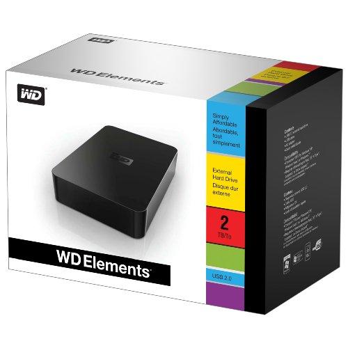 WD Elements Desktop 2.0TB (USB2.0, 静音/省電力, PC&Mac, レグザ/アクオス/ブラビアTV録画対応) WDBAAU0020HBK-JESN