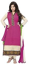 Meghali Women's Cotton Unstitched Salwar Suit (MGHR2D01_White Pink_Free Size)