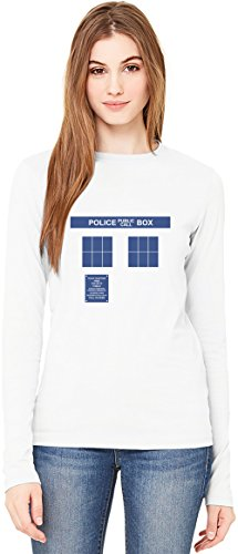 Doctor Who Police Box T-Shirt da Donna a Maniche Lunghe Long-Sleeve T-shirt For Women| 100% Premium Cotton Ultimate Comfort Large