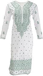 AKS Lucknow Women's Regular Fit Kurti (TK-26_38, WHITE , 38)