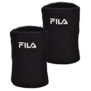 Fila Unisex Retro Cotton Tennis Sweatband Wristbands - Black - AX00195001 - NS