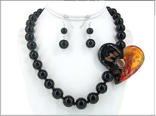 Onyx Necklace with Glass Heart 0771RDONX