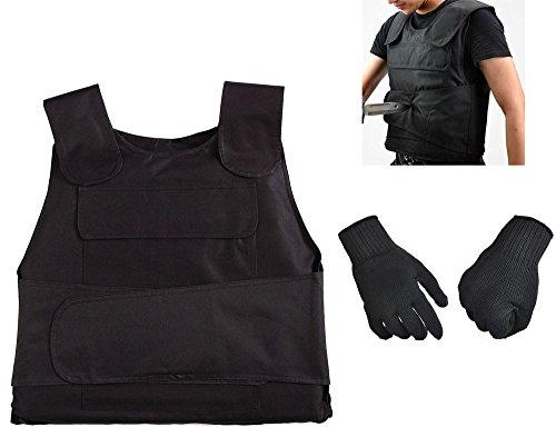 RISACCA 高性能 防刃 ベスト + 防刃 手袋 + 収納ケース タクティカル 防犯 対策 グッズ (ブラック)