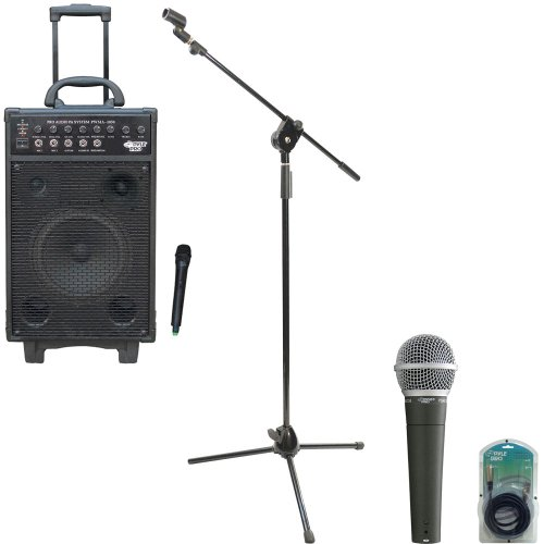 Pyle Speaker, Mic, Cable And Stand Package - Pwma1050 800 Watt Vhf Wireless Battery Powered Pa System W/Echo/Ipod/Mp3 Input Jack - Pdmic58 Professional Moving Coil Dynamic Handheld Microphone - Pmks3 Tripod Microphone Stand W/ Extending Boom - Ppfmxlr15 1