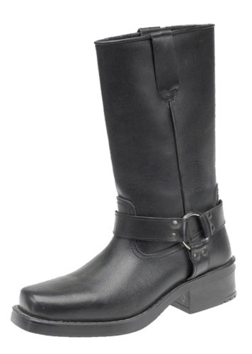 Engineer Boots, Pull-On Western Buckle Biker Boots