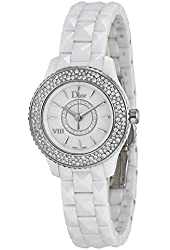 Christian Dior VIII Mother of Pearl White Hi Tech Ceramic Diamond Ladies Watch CD1221E4C001