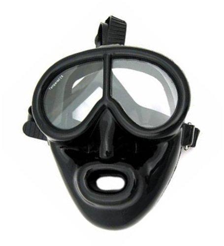 Full Face Black Rubber Dive Mask - Scuba Mask (Full Face Scuba Mask compare prices)