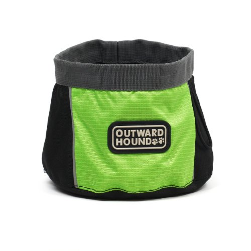 Outward Hound Kyjen  2483 Port-A-Bowl Collapsible Travel Dog Food Bowl Water Bowl, Large, Green