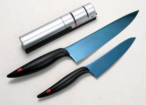 霞 KASUMI  チタニウム 剣型包丁 小包丁 ブルー シャープナーセット