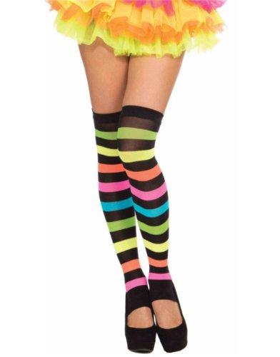 Women's Club Candy Sexy Black Striped Rainbow Thigh Highs Costume Stockings