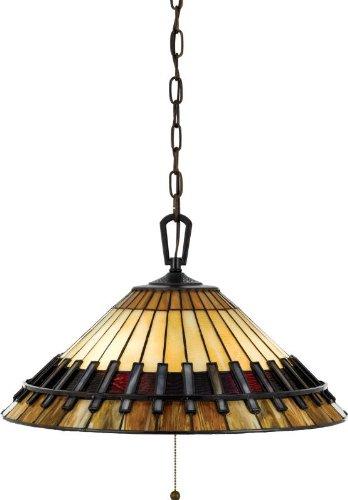 Quoizel TF489PVB Tiffany 12-Inch Pendant with 3-Lights with 160-Piece of Tiffany Glass Shade, Vintage Bronze