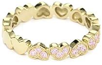 "Big Sale Myia Passiello ""Timeless Hearts"" Swarovski Pure Brilliance Pink Zirconium Multiple Hearts Ring, Size 8"