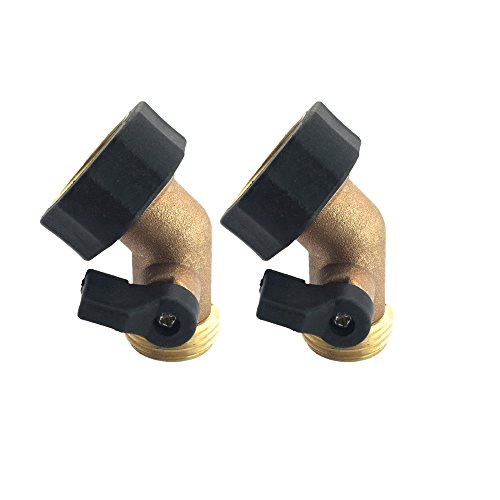 A1003T 3YR WARRANTY 2 PACK-Heavy Duty Brass Gooseneck Shut Off Valve Connector (Garden Hose 90 Degree Elbow compare prices)