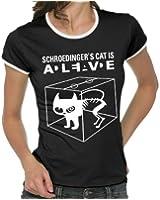 Touchlines Damen Kontrast T-Shirt - Schroedingers Cat Is Alive Girlie Ringer