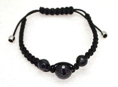 Black Cotton and Onyx 8mm and 12mm Bead Bangle Type Adjustable Bracelet