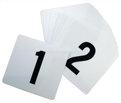 New Star 23176 1 to 50-Double Side Plastic Table Numbers, 4 by 4-Inch, Black on White (Restaurant Numbers compare prices)