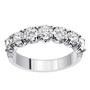 1.65 CT TW Prong Set Round Diamond Anniversary Wedding Ring in 14k White Gold - Size 7