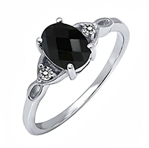 1.19 Ct Oval Checkerboard Black Onyx White Diamond 925 Sterling Silver Ring