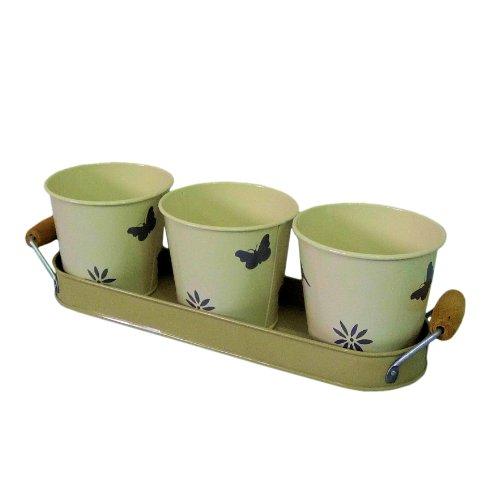 Cream Retro Vintage Enamel Set of 3 Plant Herb Flower Pot Pots Planter w/ Handled Tray