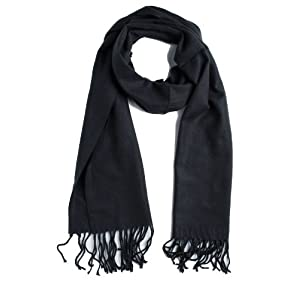 Plum Feathers Super Soft Luxurious Cashmere Winter Scarf (Black)