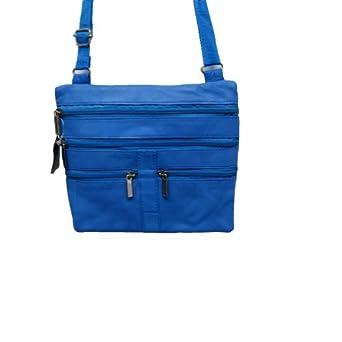Lambskin Leather Double Compartments Cross-body Handbag Belt Purse in One