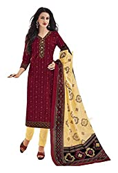 PRIYALAXMI Women's Cotton Unstitched Dress Material (Red)
