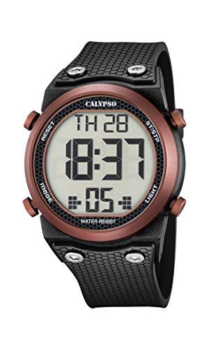 Calypso-Orologio digitale Unisex, con Display LCD digitale e cinturino in plastica, colore: nero, 3 K5705