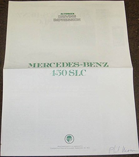 1972 Mercedes Benz 450 SLC Sales Brochure (Slc 450 compare prices)