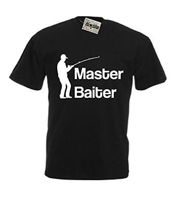Master Baiter Funny Fishing Gift For Fisherman Rude T-Shirt, Mens, Black, Small